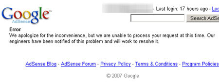 Adsense error message while entering PIN number