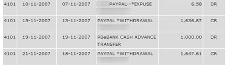 Public Bank ebanking statement shows PayPal funds received