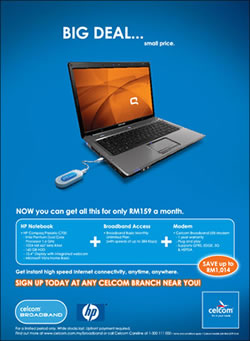 Celcom Broadband + Compaq Notebook + USB promotion
